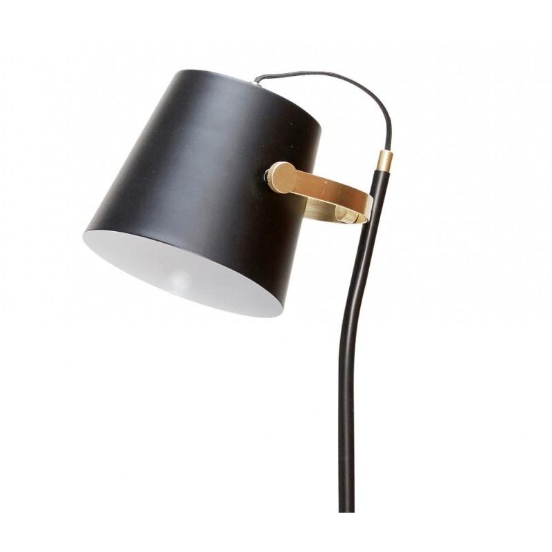 Hubsch Black Floor Lamp with Brass Detail