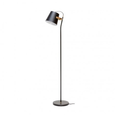 Hubsch Black Floor Lamp with Brass Detail