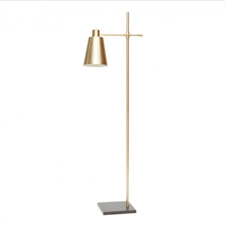 Hubsch Brass Floor Lamp with Black Marble Base