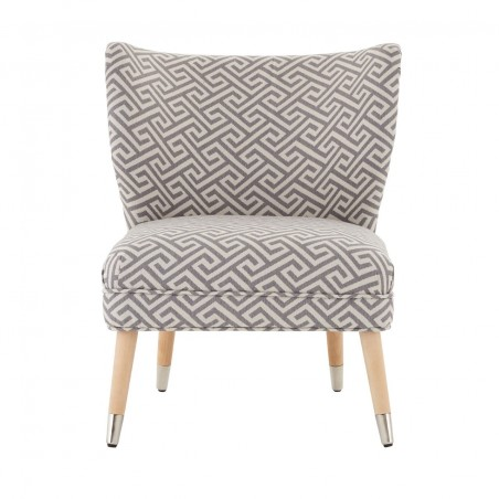 Jacquard Print Wing Back Chair - Grey & Beige