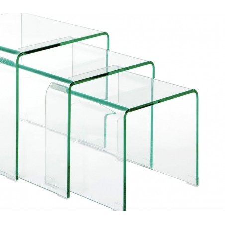 Narcissus Nest of 3 Bent Glass Side Tables