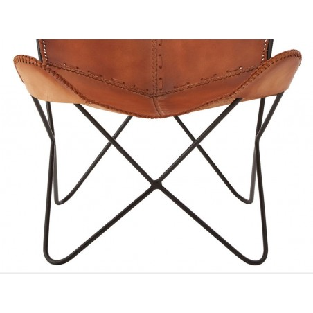 Brown Real Buffalo Hide Butterfly Chair