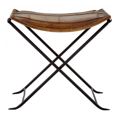 Brown Buffalo Leather Footstool