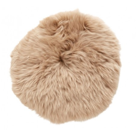 Hubsch Light Brown Longhaired Sheepskin Cushion