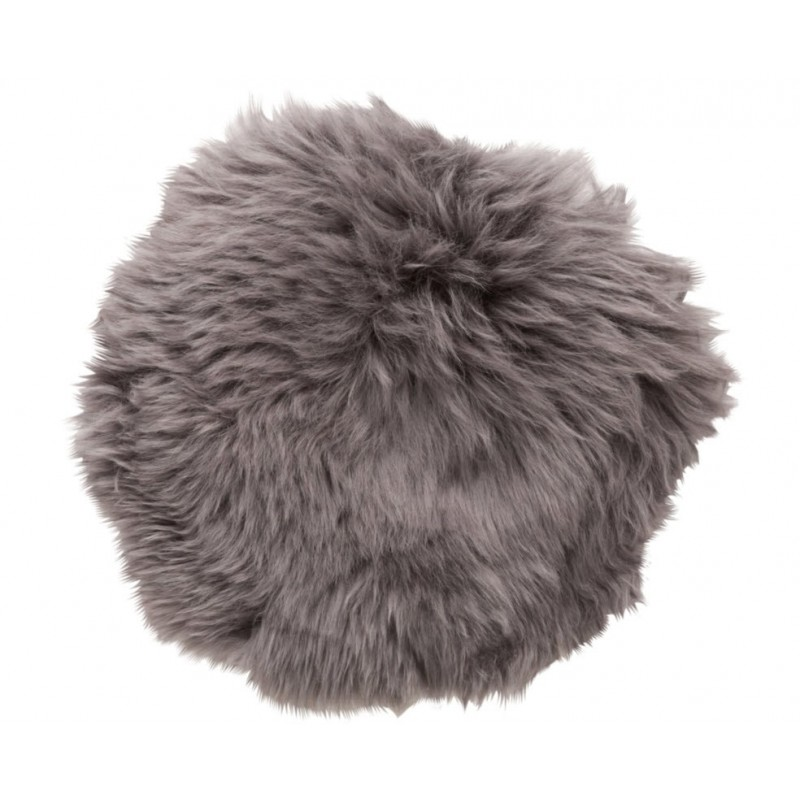 Hubsch Grey Longhaired Sheepskin Cushion