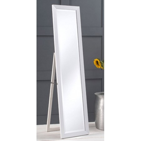 Minerva White Cheval Floor Mirror