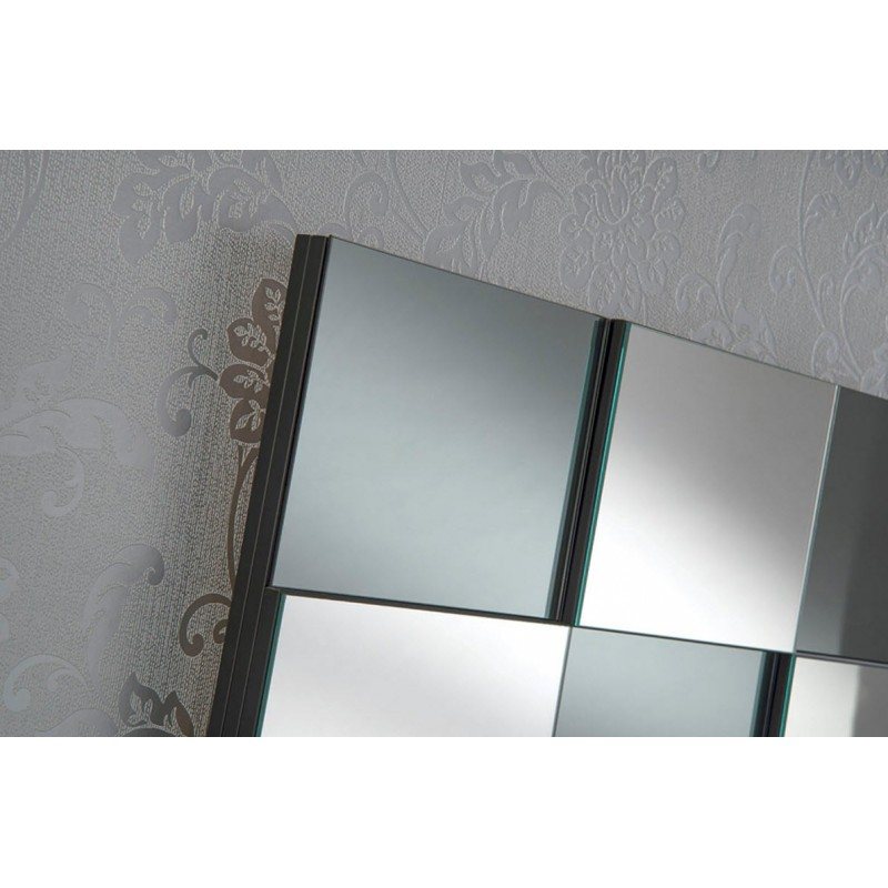 Hirst Grey and Glass Offset Grid Wall Mirror
