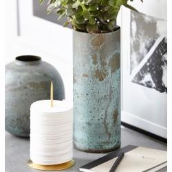 House Doctor Brass Effect Vase in Green