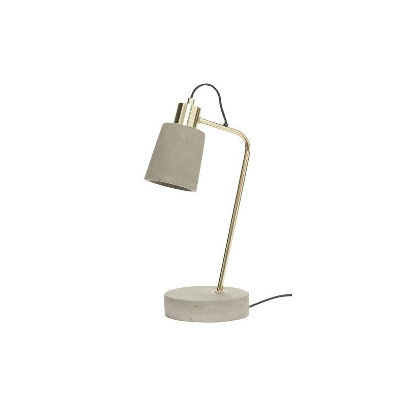 Hubsch Concrete and Brass Table Lamp