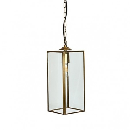 Culinary Concepts Geneva Rectangular Glazed Pendant Light in Brass Finish