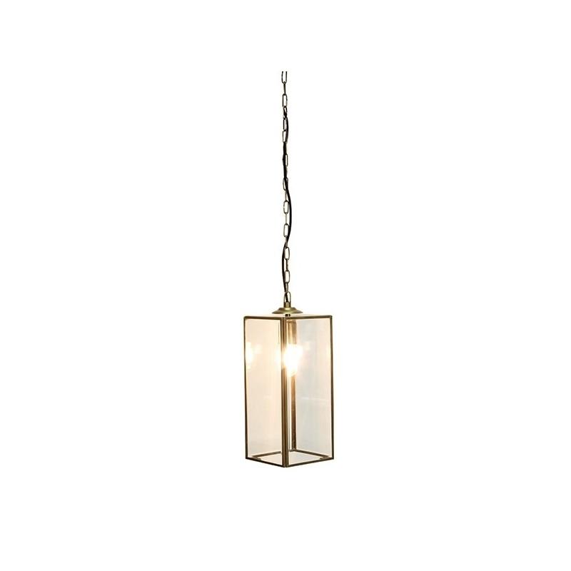 Culinary Concepts Geneva Rectangular Glazed Pendant Light in Brass Finish