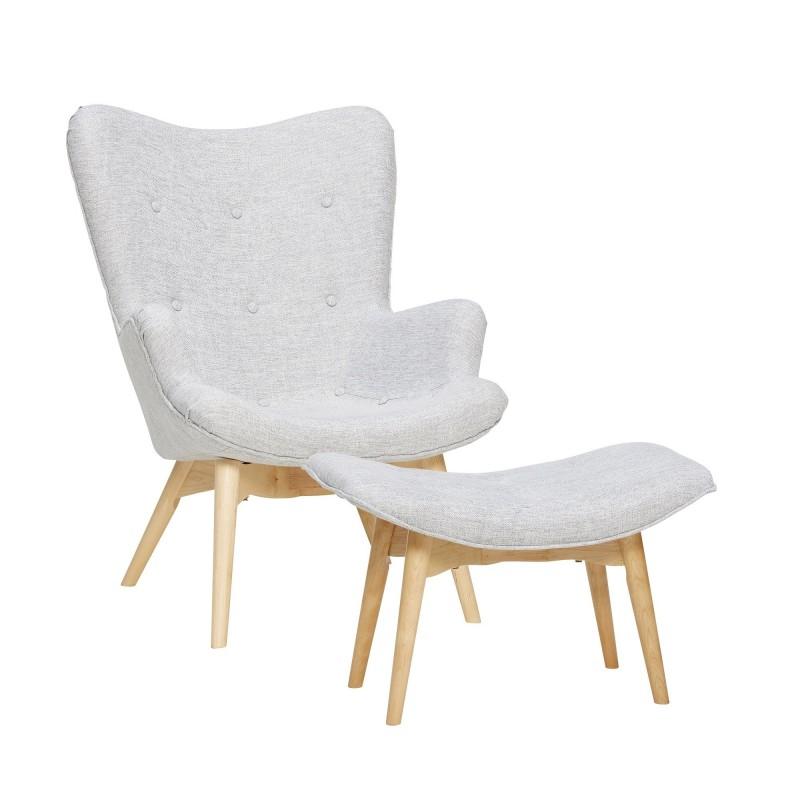 Hubsch Light Grey Danish Armchair and Stool Set