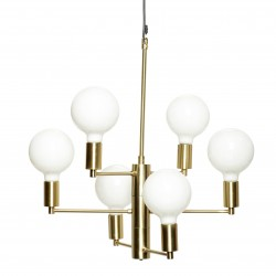 Hubsch Brass and White Spheres Chandelier