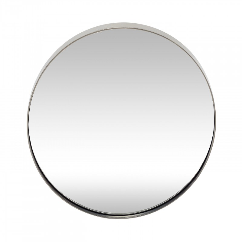 Hubsch Round Metal Mirror in Silver Finish