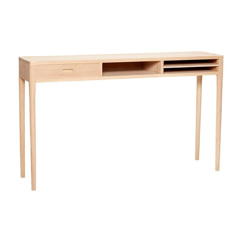 CONSOLE TABLE W/COMPARTMENTS, OAK, NATURE