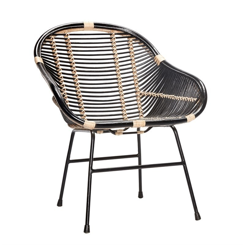 Hubsch Modern Black Rattan Chair With Metal Legs