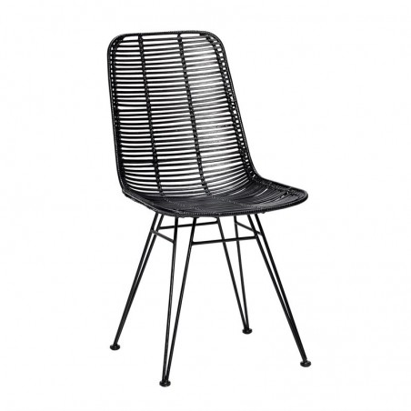 Hubsch Studio Chair in Black Rattan with Black Metal Frame
