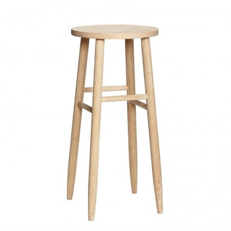 Hubsch Wood Counter Stools Bar Stools Dining Kitchen Round Seat Chair Made of Oak Wood