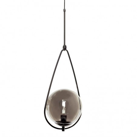 Hubsch Smoke Glass Sphere and Metal Sling Pendant Lamp