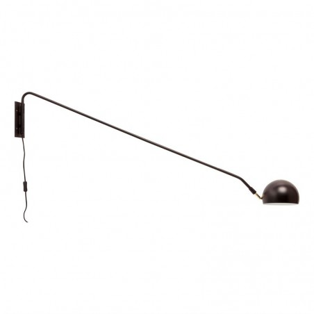 Hubsch Wall Lamp in Black Metal with Long Arm