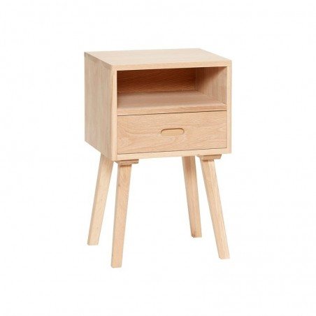 Hubsch Modern Bed Side Table with One Drawer in Natural Oak wood