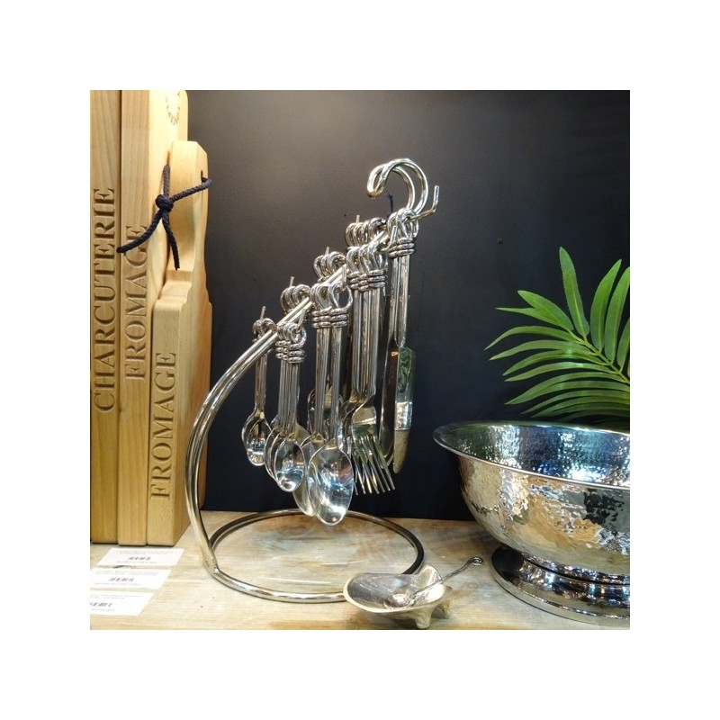 Handmade Polished Knot 24 Piece Cutlery Set with Stand