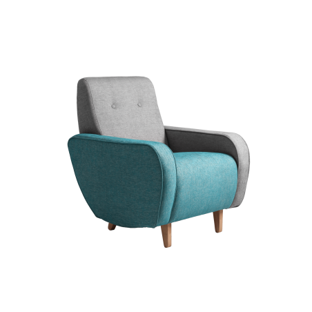 Custom Form Armchair PANDA - Silver-Turquoise, Natural