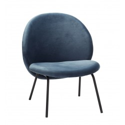 Hubsch Lounge Chair In Blue Velour With Black Metal Legs