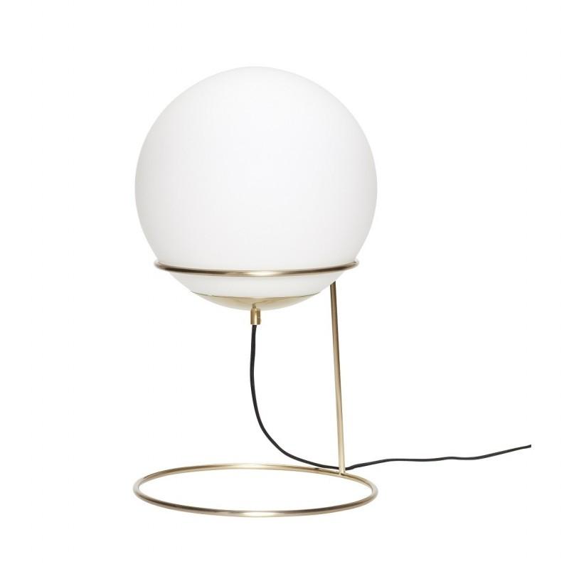 Hubsch Floor Lamp in Metal Brass and Opal Glass