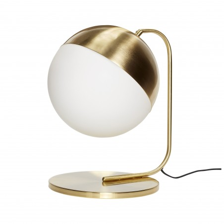 Hubsch White Glass and Brass Globe Table Lamp