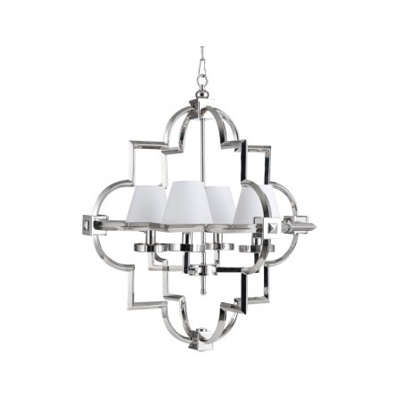 Nickel Chandelier with Four Small Lamp Shades