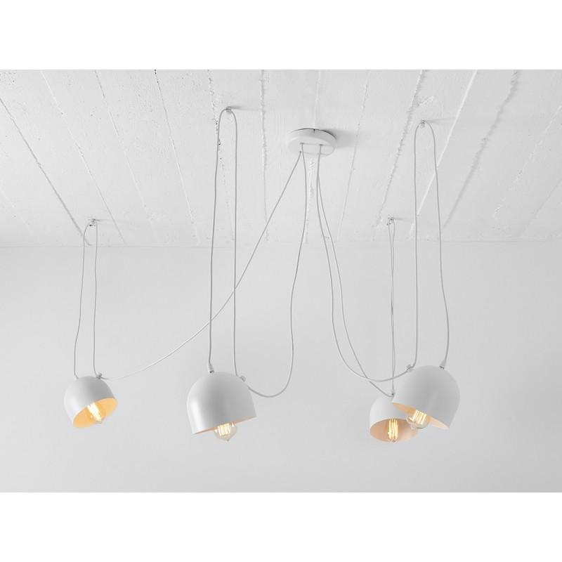 Custom Form Popo 4 Pendant Lamp in White Metal