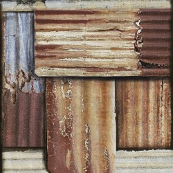 Mind The Gap Rusty Tin Wallpaper