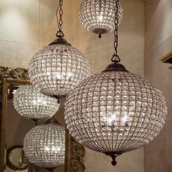 Crystal Brass Chandelier | Three Sizes