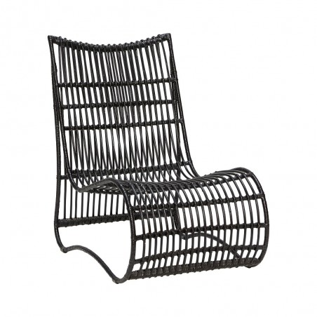 Hubsch Black Rattan Lounge Chair