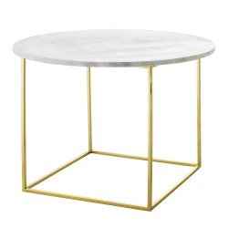 Bloomingville Eva Coffee Table in White Marble and Golden Base