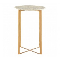 Side Table in White Marble and Golden Iron Base