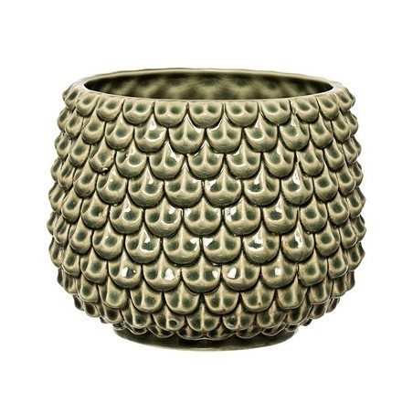 Bloomingville Stoneware Green Flower Pot