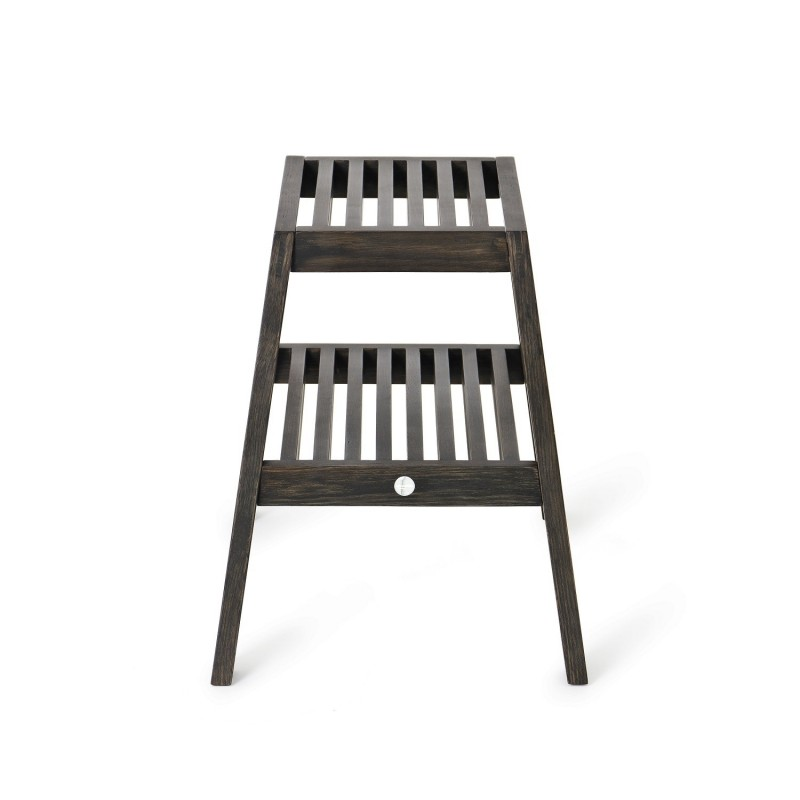 Wireworks Slatted Stool in Dark Oak