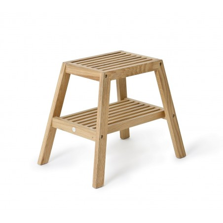 Wireworks Slatted Stool in Natural Oak