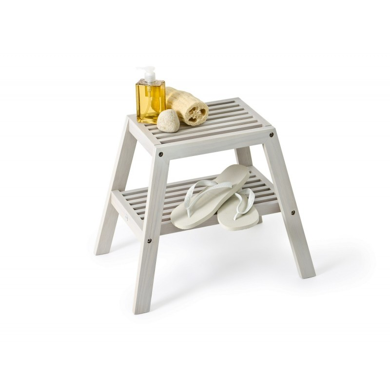 Wireworks Slatted Stool in Oyster Finish