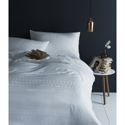 Margo Selby Sussex White Cotton Duvet Cover White Patterned Bed Linen White Duvet Cover
