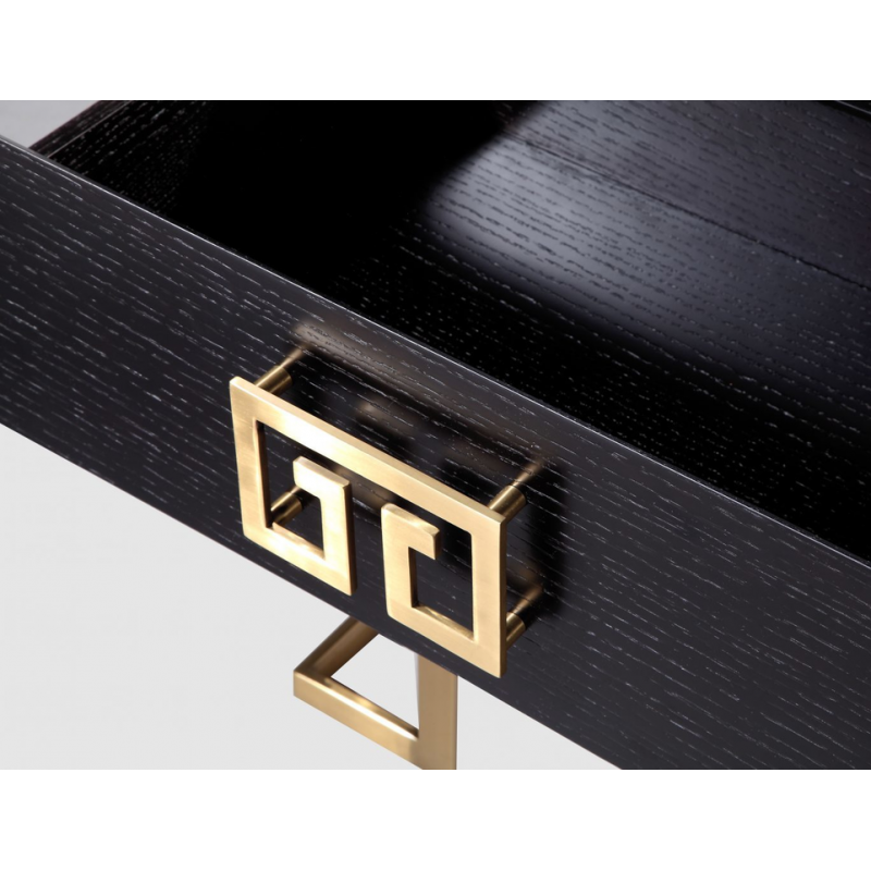 Black and Brass Bedside Table| Art Deco Style