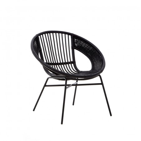 Retro Black Rattan Chair with Black Metal Frame