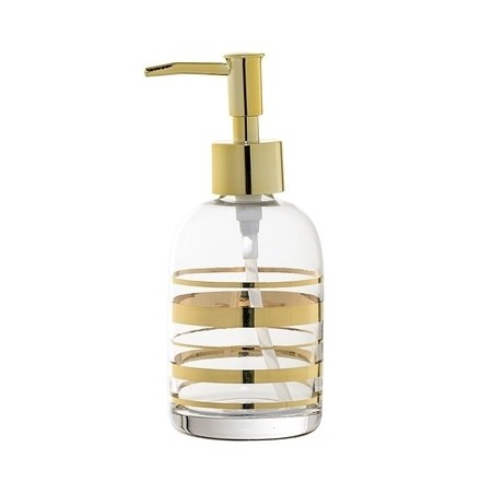 Bloomingville Glass Soap Dispenser With Gold Striped