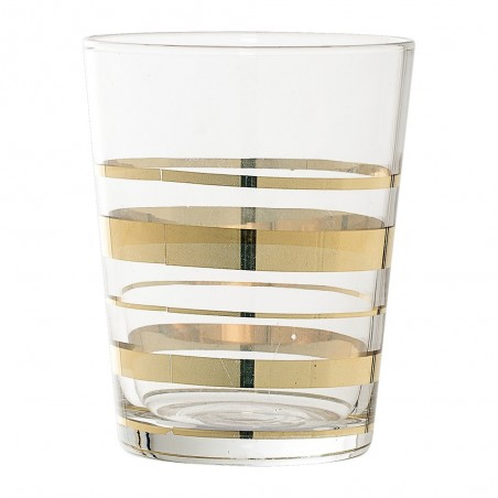 Glass Bathroom Tumbler with gold striped design
