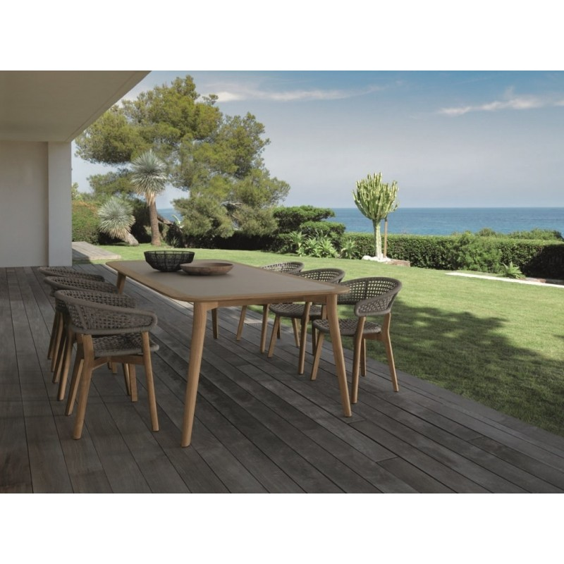 Talenti Moon Outdoor Dining Chair | Teak and Rope