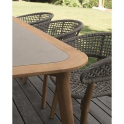 Talenti Moon Outdoor Rectangular Teak Dining Table
