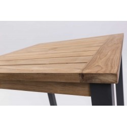 Square Teak Outdoor Table with Metal Legs | 70cm