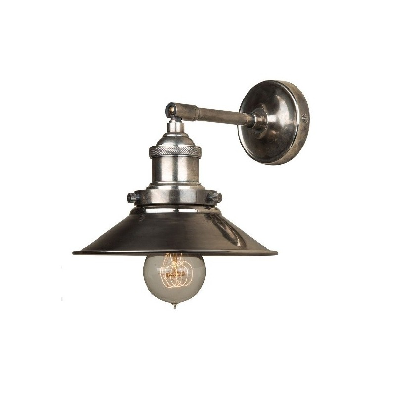 PO Antique Silver Prohibition Wall Lamp - Small Antique Silver Metal Triangular Shade